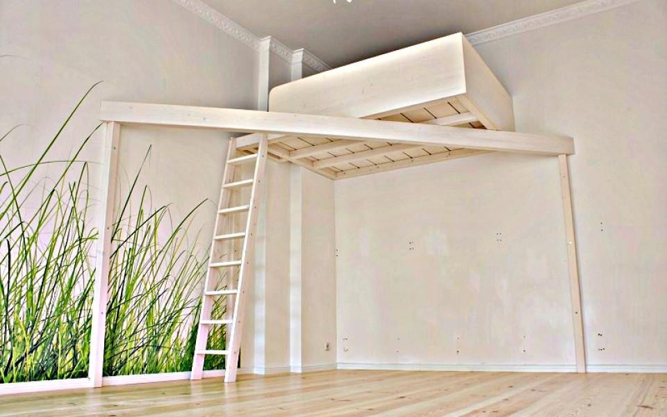 Standard Hochbetten sind von gestern, schwebender CUBE, in Lasur weiß, inkl. Lattenrost, Matratzengröße: 2,2 x 1,4m, ab 3.700,-